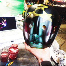 Blindsave Goalie mask for Floorball Championship almost done before covering it with laque.
